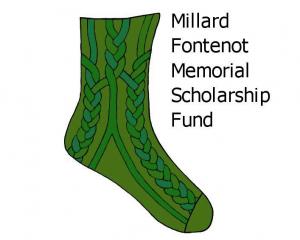Green Brethren Sock - Millard Fontenot Scholarship Fund Logo Graphic